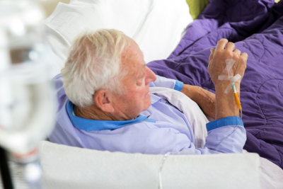 senior man receives infusion