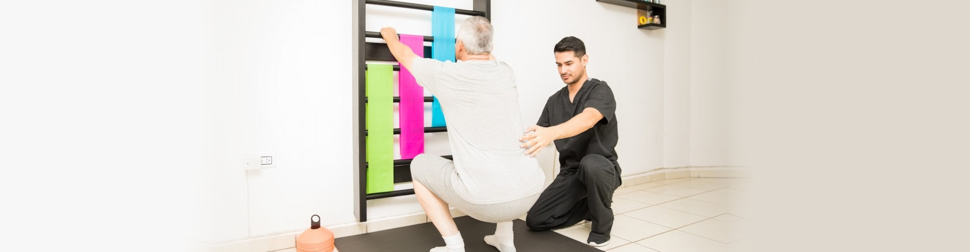 senior man doing physical therapy